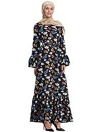 f9d15fc06419 waitFOR Abito Donna Eleganti da Cerimonia Musulmano Stampa Floreale Abiti  Vestiti Donna Elegante Cerimonia Vestito Lungo Manica Lunga…