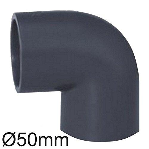 PVC Rohr und Rohrverbinder Ø 50 mm Winkel Kniestück Muffen T-Stück Kappen Fittings (Winkel 90 °)