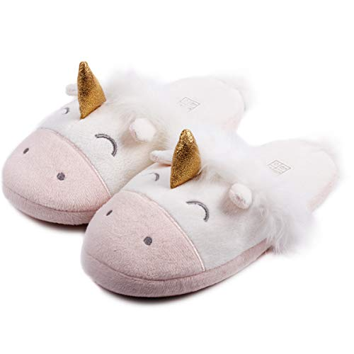 Unicorn Animal Fleece Slippers Cozy Plush Memory Foam Anti Slip Home Slippers