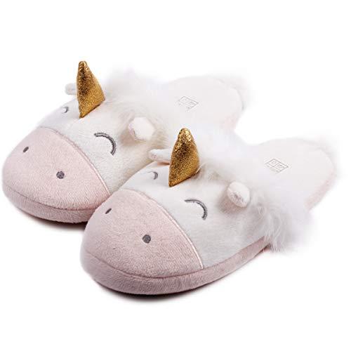Unicorn Animal Fleece Slippers Cozy Plush Memory Foam Anti Slip Home Slippers