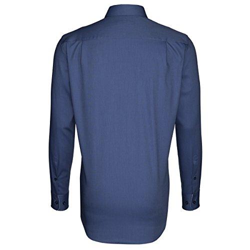 Seidensticker Herren Langarm Hemd Splendesto Regular Fit Hai-Kragen blau strukturiert mit Patch 188557.18 Blau