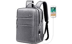 HOMIEE Business Laptop Rucksack mit USB Ladeanschluss für bis zu 15 Zoll Laptops
