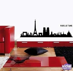 DecoWall - Sticker Mureaux - Adhesif Mural Paris Skyline 145x50 cm