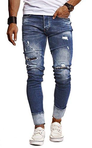 Leif Nelson Herren Jeans Hose Slim Fit Denim Blaue graue Lange Jeanshose für Männer Coole Jungen weiße Stretch Freizeithose Schwarze Cargo Chino Sommer Winter Basic LN9165 Blau W29/L32