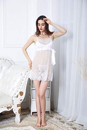 Fett Passt Kostüm - Fun-Unterwäsche Erotische Kostüme für Damen Sexy Dessous Fett mm sexy Perspektive Spitze Riemen Spaß Pyjama Perspektive sexy Unterwäsche weiß 5XL
