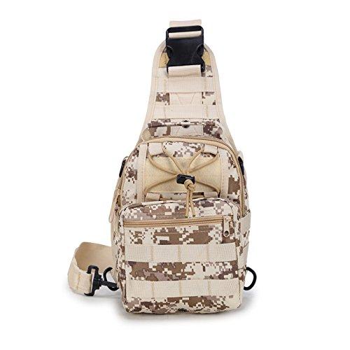 Lanlan Tactical Rucksack Freizeit Outdoor Schultertasche Camouflage Oxford Military leichter Wandern Reisen Wasserdicht Crossbody Taschen Brust Tasche für Herren, Desert Digital