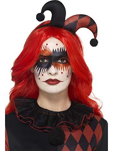 Harlekin Make Up Set Kit mit Edelstein-Aufklebern Schminke und Wimpern, perfekt für Halloween Karneval und Fasching, Mehrfarbig ()