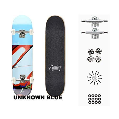 gfdsg Skateboards Komplette Skateboard-Bürste Street Maple Deck Cruise Captain Board Teen Geschenk Professionelles Vierrädriges Skateboard - Color Series,Blau -
