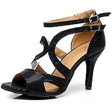 Minitoo QJ7033 de alta Stiletto para mujer zapatos de danza de Latin de la clase de termohigrómetros baile nupcial de talón