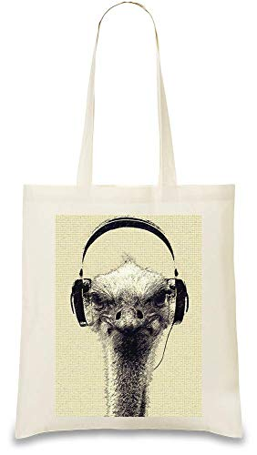 Strauß-Kopfhörer - Ostrich Headphones Custom Printed Tote Bag| 100% Soft Cotton| Natural Color & Eco-Friendly| Unique, Re-Usable & Stylish Handbag For Every Day Use| Custom Shoulder Bags By Josh God -