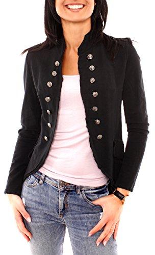 Damen Vintage Uniform Military Admiral Style Sweat Jersey Blazer Sakko Jacke Kurz Knopfleiste Offen Einfarbig Schwarz M 38 (L)