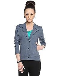Campus Sutra Womens Cotton Blazer ( AW15_JKHNK_W_PLN_DN_M _ Blue _ M )