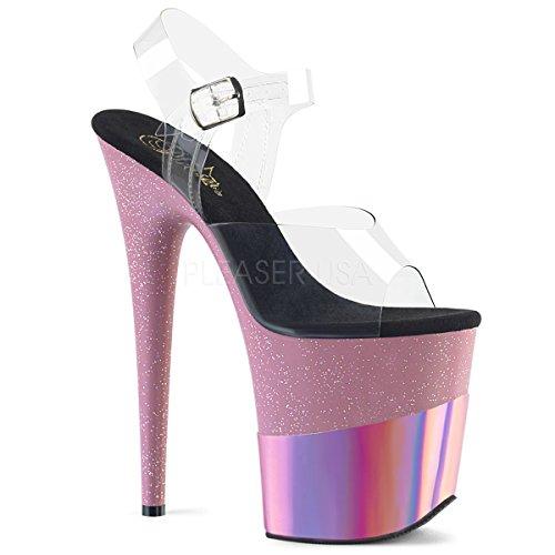 Pleaser FLAMINGO-808-2HGM Damen Extrem High Heels, Clear/B. Pink Glitter-hologram, 37 EU -