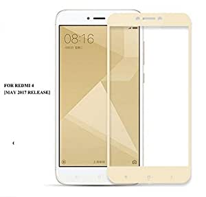 Qubik Full Screen Tempered Glass Screen Protector Frame Technology For XiaoMi RedMi 4 [May 2017 Release]- Gold