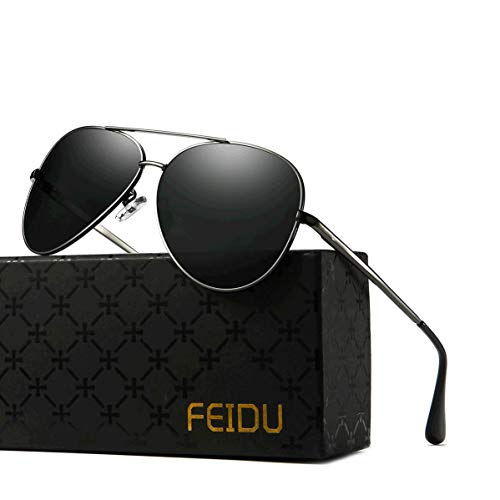 08b3331c45a1c FEIDU Retro Aviators sunglasses mens - Pilot Style Polarized Sunglasses  with Ultra-Light Metallic Metal