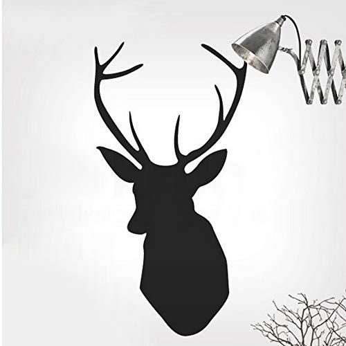 yangyueyu Vintage Hübsche Faux Elch Hirschkopf Tier Vinyl Wandaufkleber Aufkleber Wandbild Tapete Neuheit Hause Weihnachtsdekoration 50 * 95 cm -