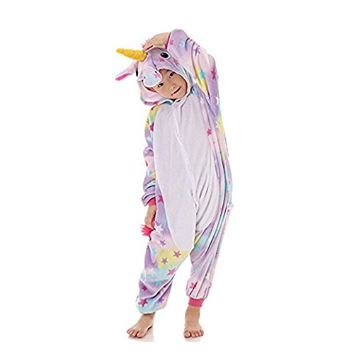 Rainbow fox bambini unicorno pigiama tute cartone animato animale costume cosplay abiti per bambini inferiore di 120cm in altezza(# 120 (altezza 110-120cm), stella)