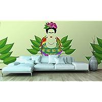 Fotomural Vinilo Pared Frida Kahlo y loros | Fotomural para paredes | Mural | Vinilo Decorativo | Varias Medidas 150 x 100 cm | Decoración comedores, salones, habitaciones...