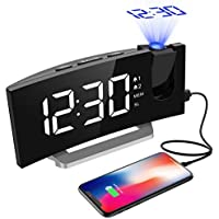 Projektionswecker, Mpow FM Radiowecker mit Projektion, 5'' LED-Anzeige, digitaler Wecker, Reisewecker, Tischuhr, Dual-Alarm, 6 Helligkeit, 4 Alarmtöne mit 3 Lautstärke, 9 ' Snooze,120° Dreh-Projektor.