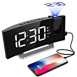 Projection Alarm Clock, Mpow FM Radio Alarm Clock with Projection, 5'' LED Display, Digital Alarm Clock, Travel Alarm Clock, Table Clock, Dual Alarm, 6 Brightness, 4 Alarm Sounds with 3 Volume, 9 ' Snooze, 120° Rotating Projector