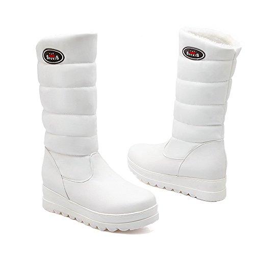 AllhqFashion Damen Niedriger Absatz Blend-Materialien Mittler Kalb Ziehen Auf Stiefel Weiß