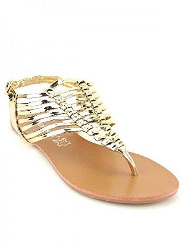 Cendriyon, Tong Multibrides Dorées STEPHAN Chaussures Femme Doré