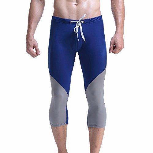 NPRADLA Bademode Badehose Badeshorts Herren Männer Mit Verstellbarem Tunnelzug, Slip Tether Beachwear Unterwäsche Surf Boardshorts Hosen(Blau-2,L)