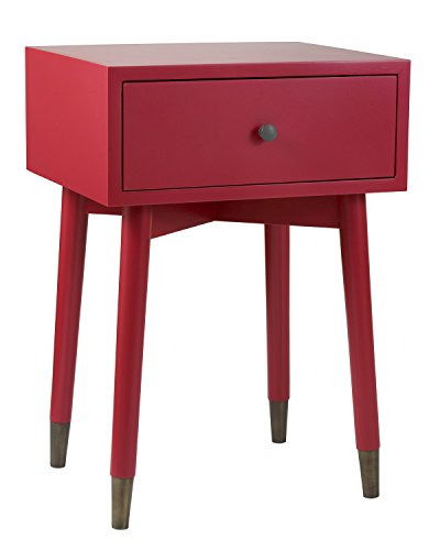East At Main Leeds Acacia Wood Square Accent Table, Red, (15