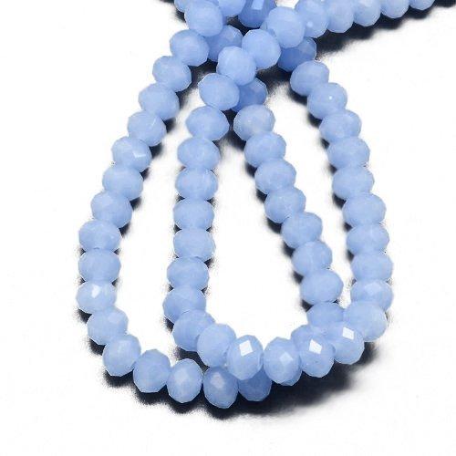 95+ Blasse Blau Tschechische Opaque Kristall 4 x 6mm Facettiert Rondelle Perlen - (HA20045) - Charming Beads (Rondell 6mm Facettiert)