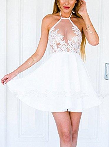 Donna Vestitino da Sera Partito Bodycon Mini Abito Signora Vestito Senza Maniche A-line Trasparente Pizzo Cucitura Vestiti Bianca