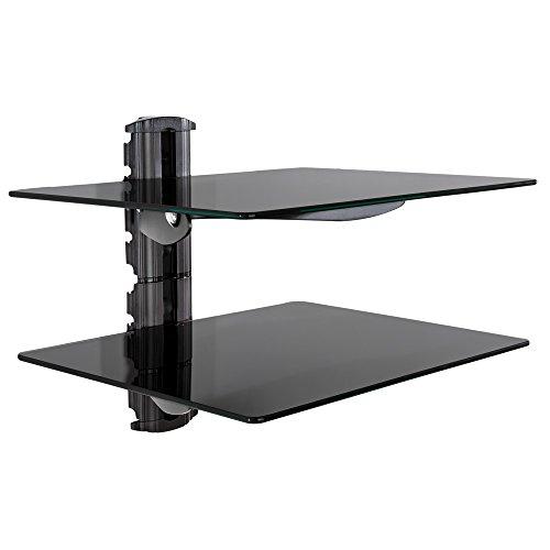 TecTake Wandregal Glasregal TV Wandhalterung für Blu-ray DVD Player Receiver Hifi Geräte - diverse Modelle - (2 Ablagen Schwarz (401238))