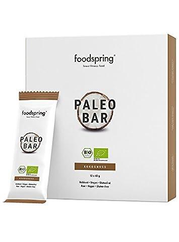 foodspring Bio Paleo Bar, Kokos, 12er Paket (12x40g)