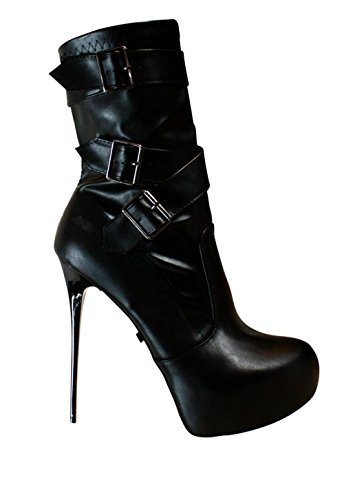 EROGANCE cuir synthétique plateau high heels femme noir/a4124 eU 36 à 46 Noir - Noir