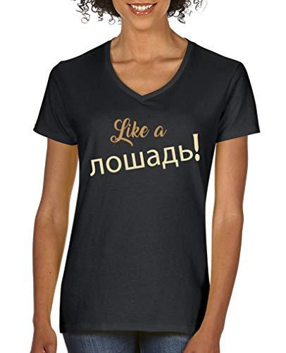 Comedy Shirts - Like a Pferd! Russisch - Damen V-Neck T-Shirt - Schwarz/Hellbraun-Beige Gr. XL