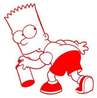 Auto Simpsons Aufkleber (Bart Simpson Graffiti Spraydose 15cm Aufkleber ohne Hintergrund von SUPERSTICKI® aus Hochleistungsfolie für alle glatten Flächen UV und Waschanlagenfest Tuning Profi Qualität Auto KFZ Scheibe Lack Profi-Qualität)
