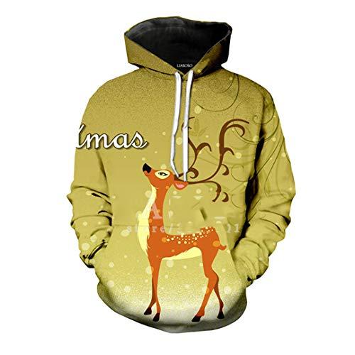 (SWETHENG 3D Print Unisex Weihnachten Elch Hirsch Weihnachtsmann Cosplay Hooded Hoodies Sweatshirts 3 XL)