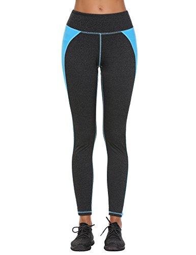 Finejo Yoga Hosen Damen Schwarz 7/8, Leggings Damen Blau