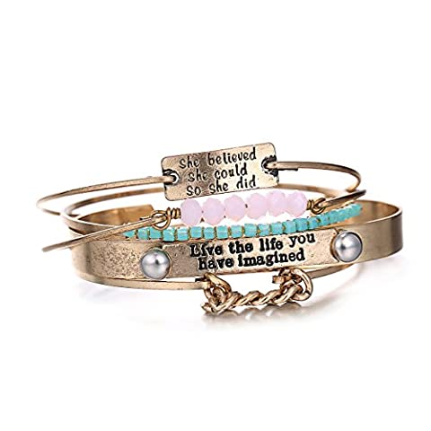 eManco 5 Pieces Stackable Inspirational Message Statement Bracelet Crystal Copper Trending