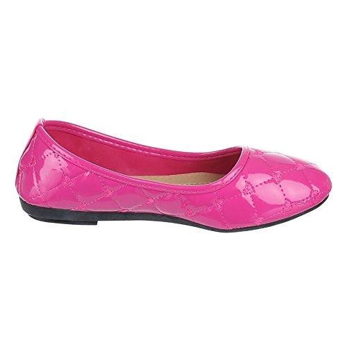 Damen Schuhe, H-89, BALLERINAS NAHT DECKO PUMPS Pink