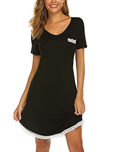 LaLaLa Damen Baumwolle Sommer Nachthemd Rundhals Kurzarm Nachtkleid Sleepwear mit Spitzensaum Schwarz M - Sommer Nachthemd