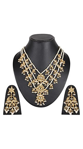 DS White Colour Three lada Party wear Hand Crafted Kundan with Pearl Necklace set with chand Bali for women(DS181)