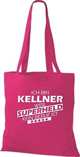 Shirtstown Stoffbeutel Ich bin Kellner, weil Superheld kein Beruf ist pink