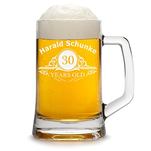 g Personalisiert mit Gravur eines Namens und Jahreszahl - Bierseidel Geschenk zum Geburtstag mit - Motiv Altersangabe Years 0,3l ()