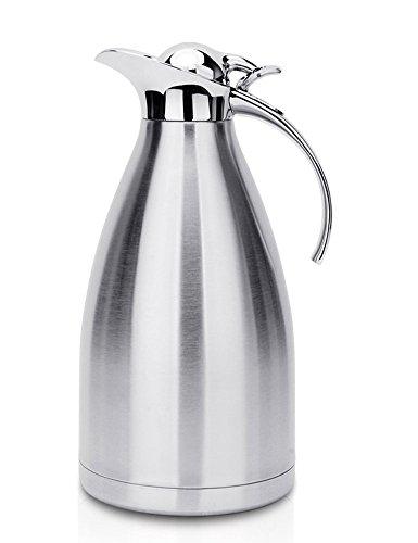 cozyle Edelstahl doppelwandige Vakuum Isolierte Thermo Kaffee Karaffe mit Druckknopf Top Thermo Getränke Spender, edelstahl, silber, 34oz (Vakuum-isolierte Spender)