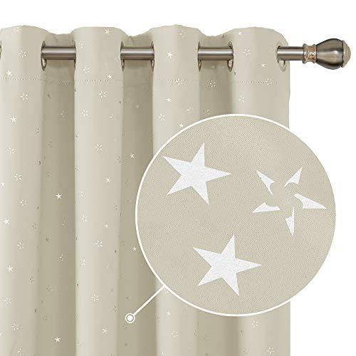 Deconovo tende oscuranti termiche isolanti stelle per interni moderne con occhielli 140x260cm beige scuro