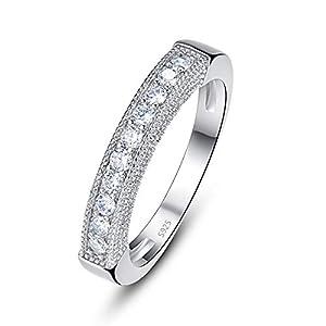 925 Sterling Silber runder Schnitt weiß Zirkonia Ring Diamant Hochzeit Verlobungsversprechen Ring