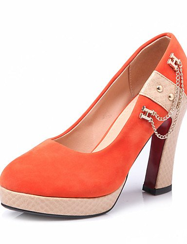 WSS 2016 Chaussures femmes été / automne talons / talons plate-forme extérieure / bureau& carrière / occasionnel talon aiguille ChainBlack / orange-us5 / eu35 / uk3 / cn34
