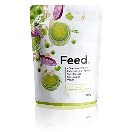 Feed. - 1 Sachet de 5 repas Légumes du jardin - Repas complet, pratique à emporter partout - 100% Vegan - Sans Gluten - Sans lactose - Sans OGM - 750g