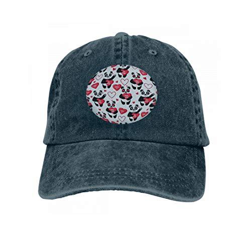 Unisex Baseball Caps Adjustable Plain Dad Hat Sun Cap Happy Valentine s Day Holiday Animals Cute Background Panda Navy