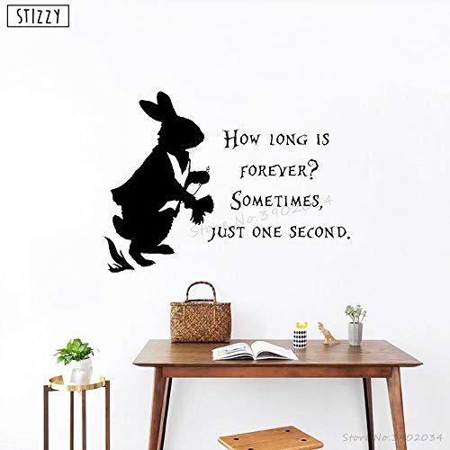 Alice im Wunderland Zitat Wandaufkleber Vinyl Kaninchen Tier Kinder Kinderzimmer Schlafzimmer Poster Cartoon Decor 56 * 42 cm ()